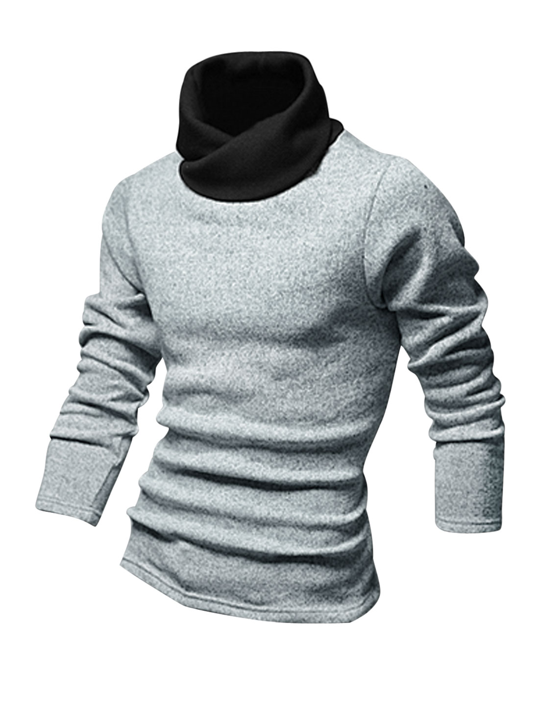 Men Cocoon Neck Long Sleeves Contrast Collar Stretchy Knit Shirt Light Gray M