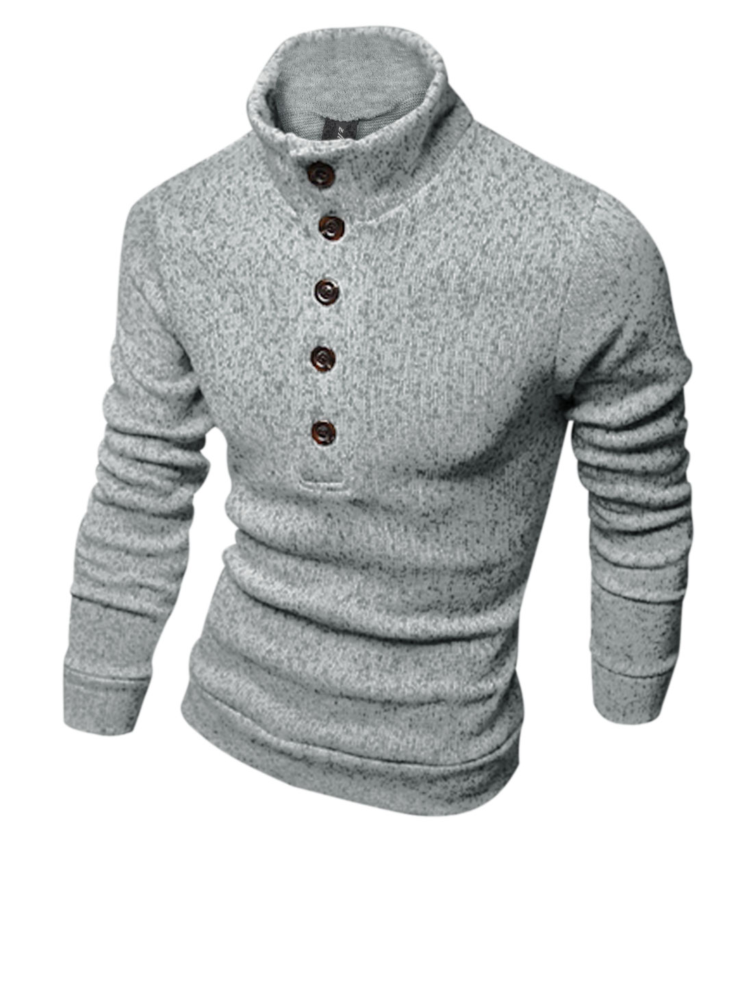 Men Mock Neck Button Closure Front Design Casual Knit Shirt Light Gray M