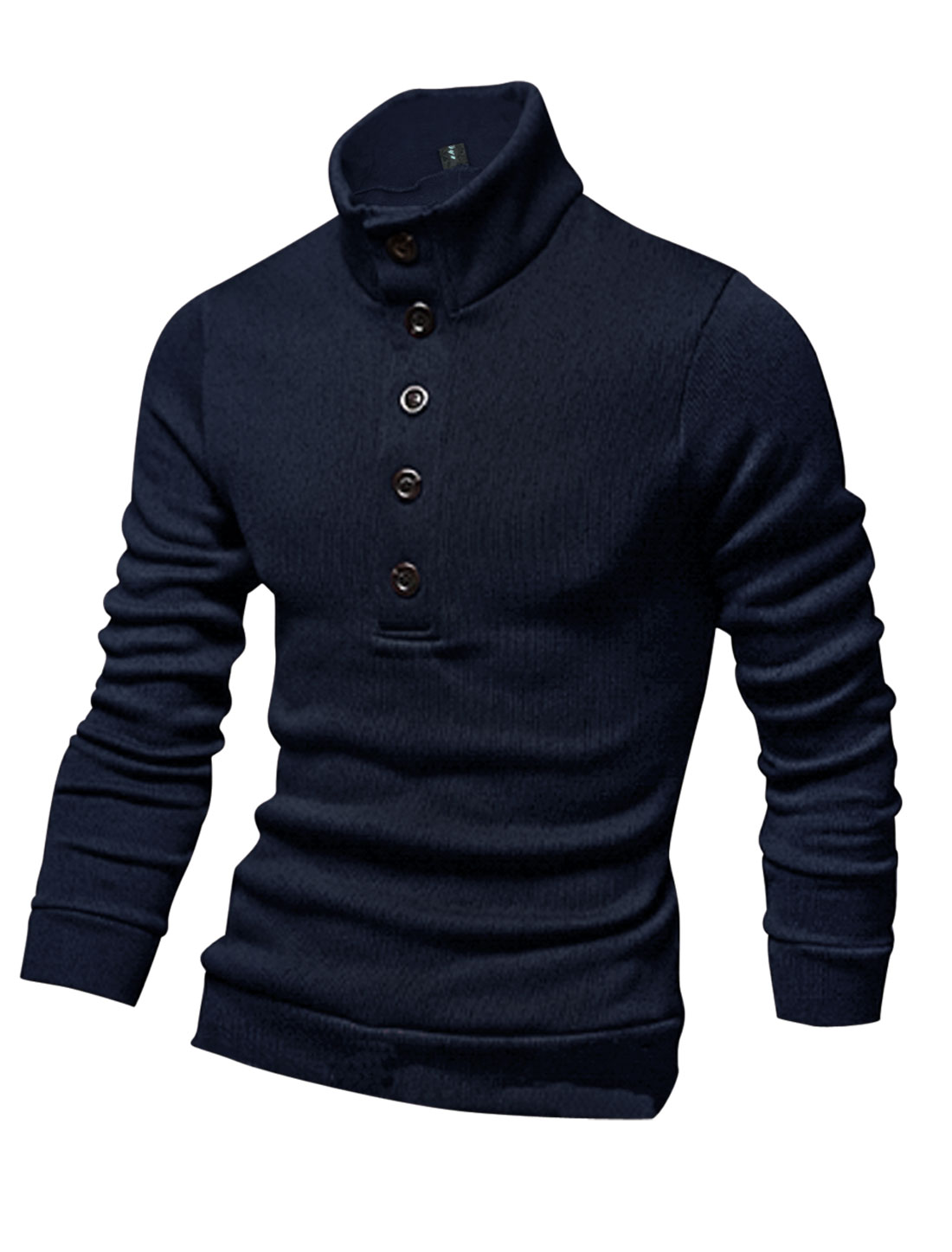 Men Pullover Mock Neck Cozy Fit Stretchy Knit Shirt Navy Blue M