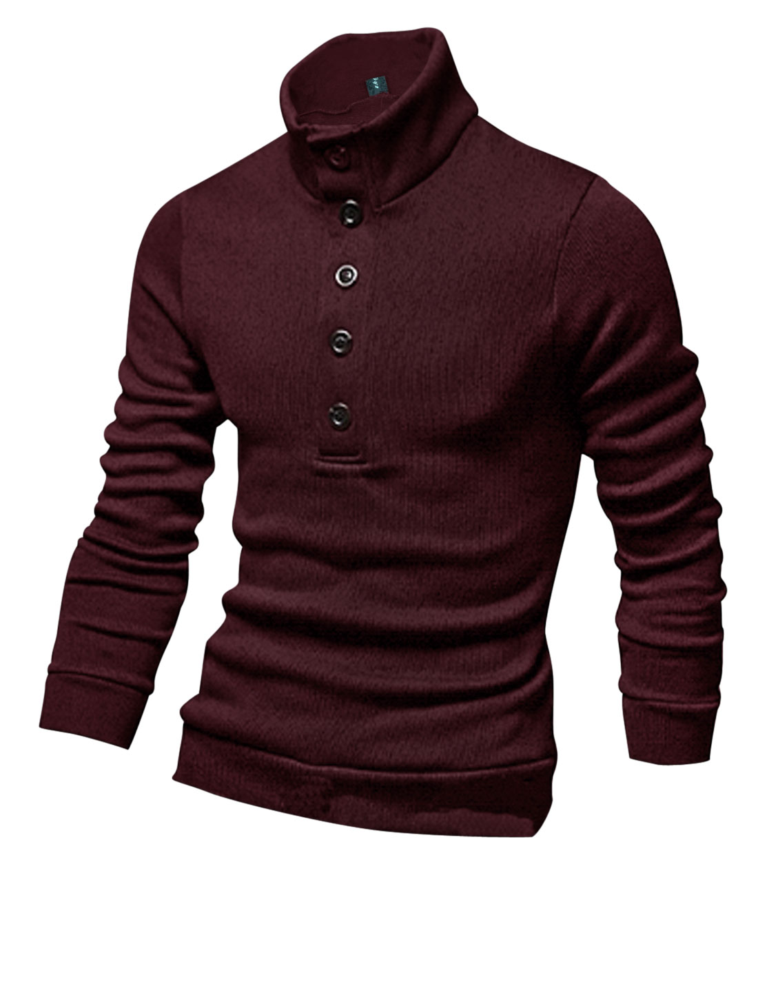 New Style Fashion Mock Neck Casual Knit Shirt for Men Burgundy M
