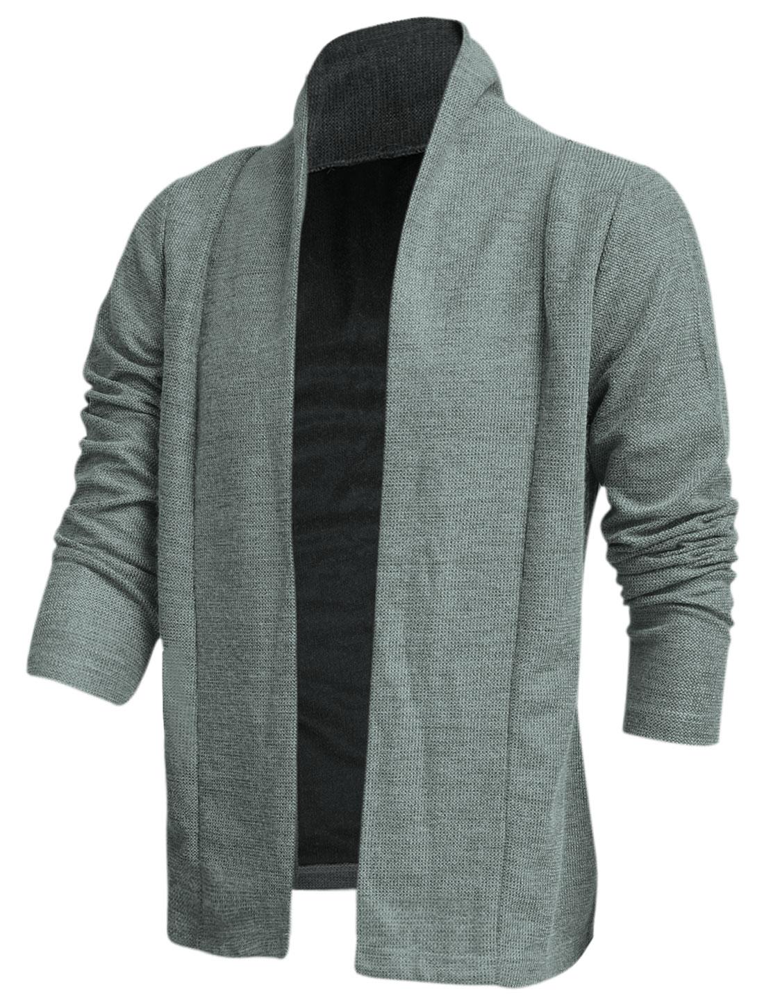 Men Shawl Collar Long Sleeve Stylish Casual Knit Cardigan Light Gray M