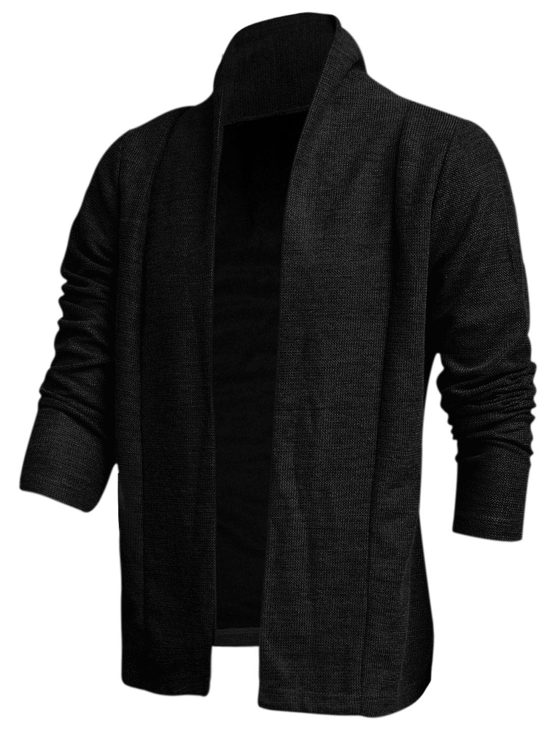Men Shawl Collar Fashionable Cozy Fit Knit Cardigan Black M