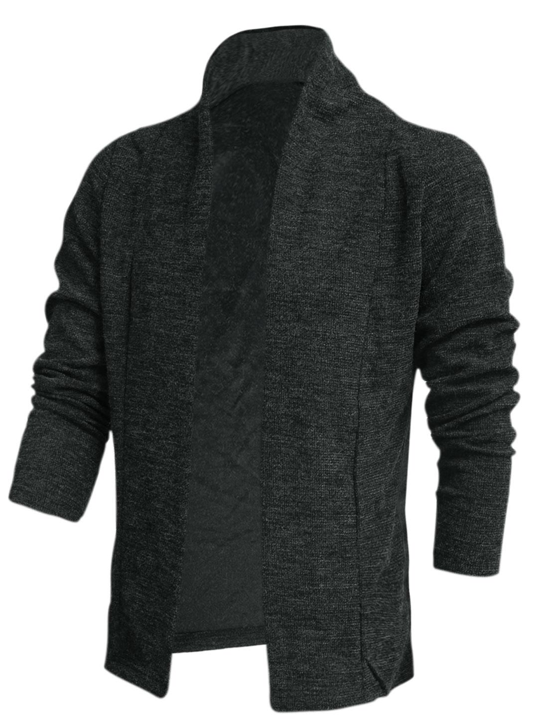 New Style Soft Shawl Collar Design Knit Cardigan for Men Dark Gray M