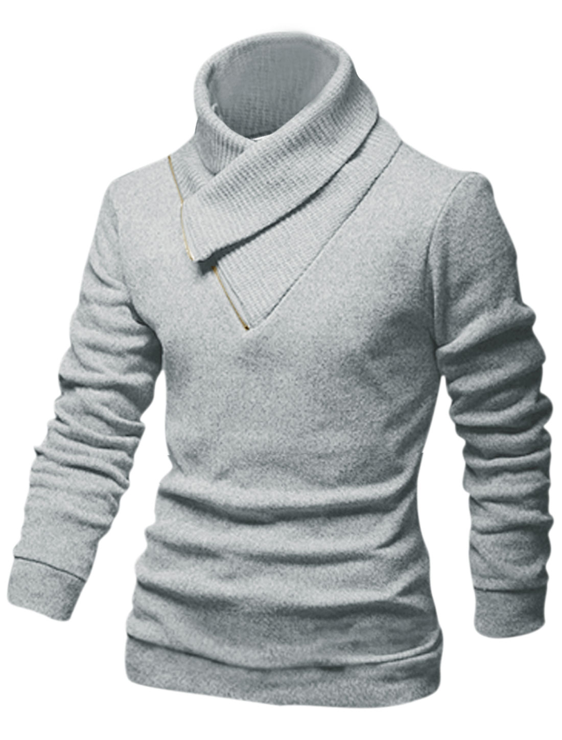 Men Convertible Collar Slipover Casual Knit Shirt Light Gray M