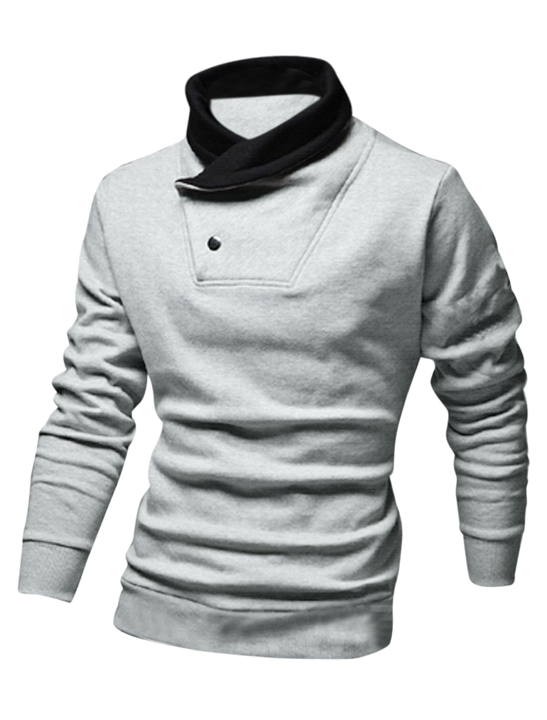 Men Cocoon Neck Two Snap Buttons Closed Leisure Sweatshirt Light Gray M