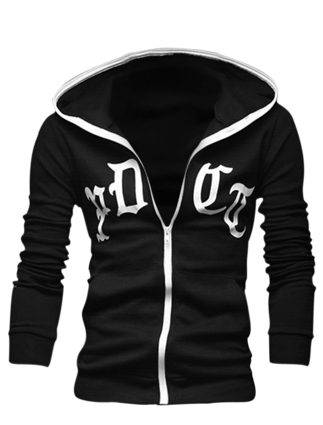 Men Letters Prints Full Zip Up Slant Pockets Front Casual Hoodie Black M