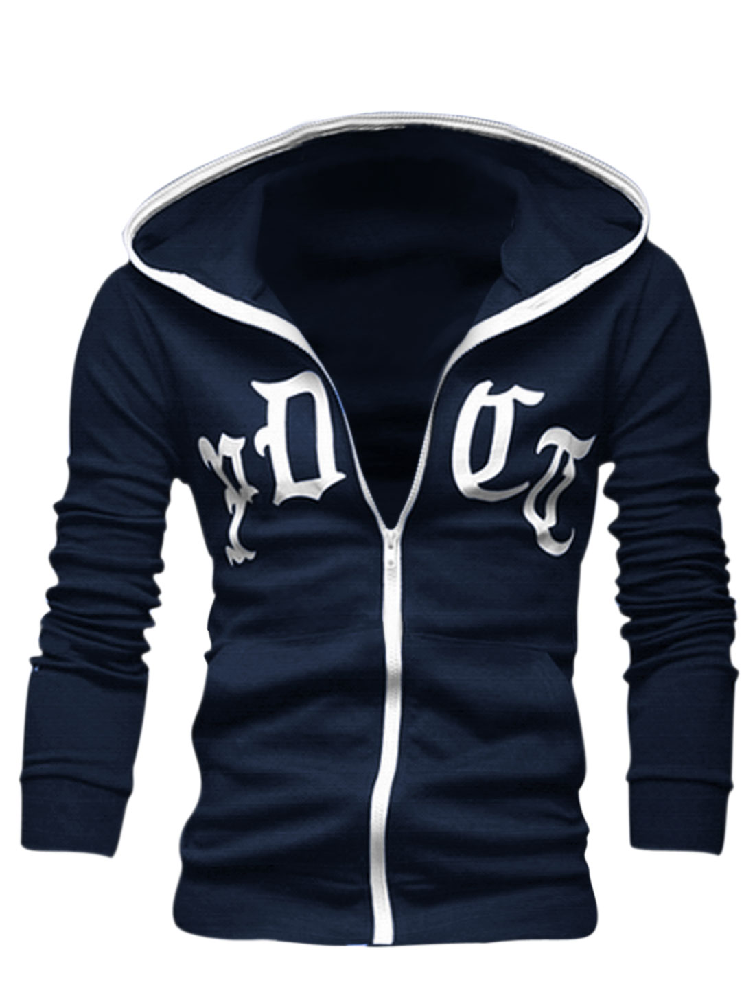 Men Full Zip Up Slant Pockets Front Casual Hoodie Navy Blue M