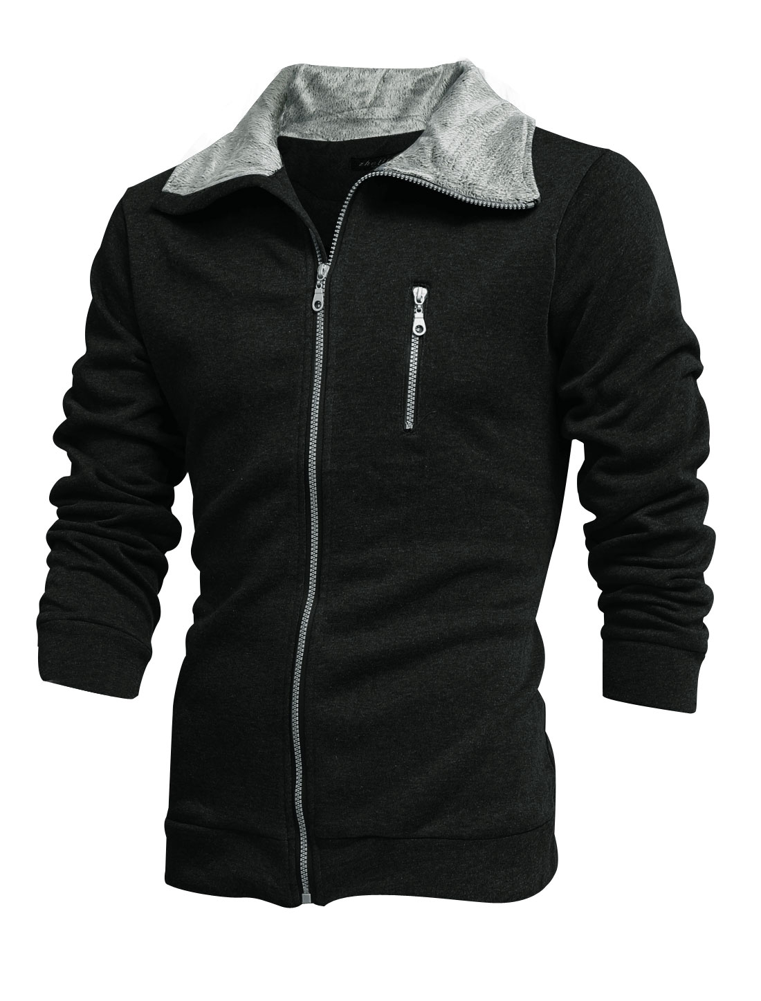 Men Fleece Turndown Collar Zip-Up Pocket Decor Casual Jacket Black M