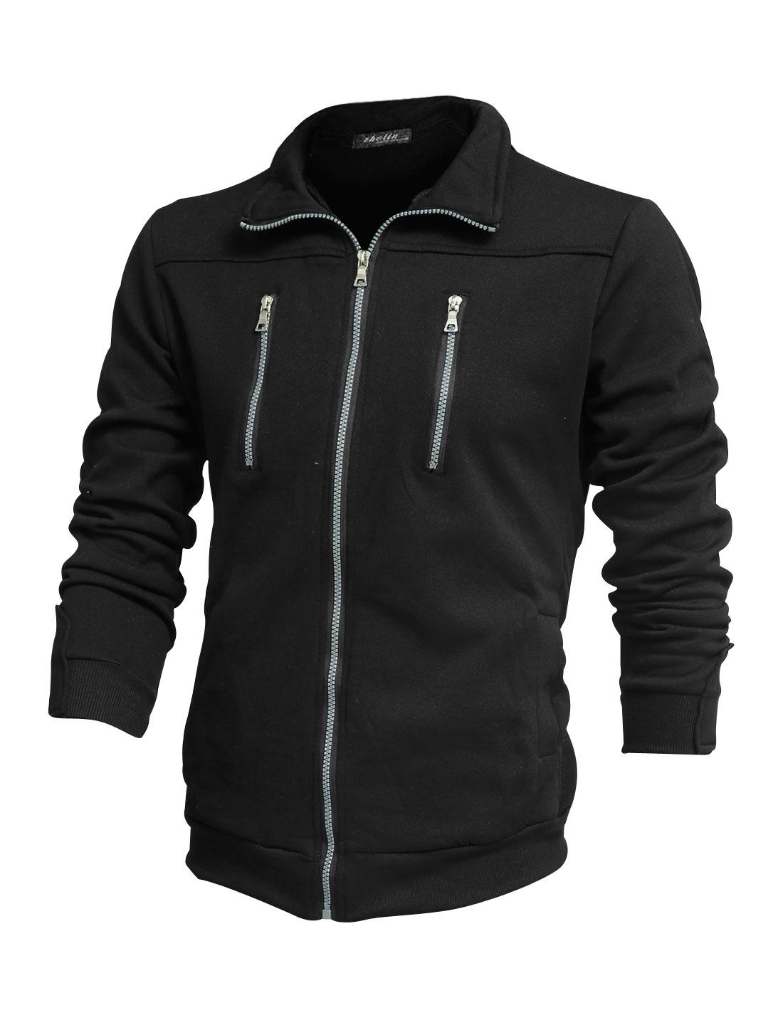 Men Turndown Collar Mock Zip-Up Pockets Ribbed Trim Leisure Jacket Black M