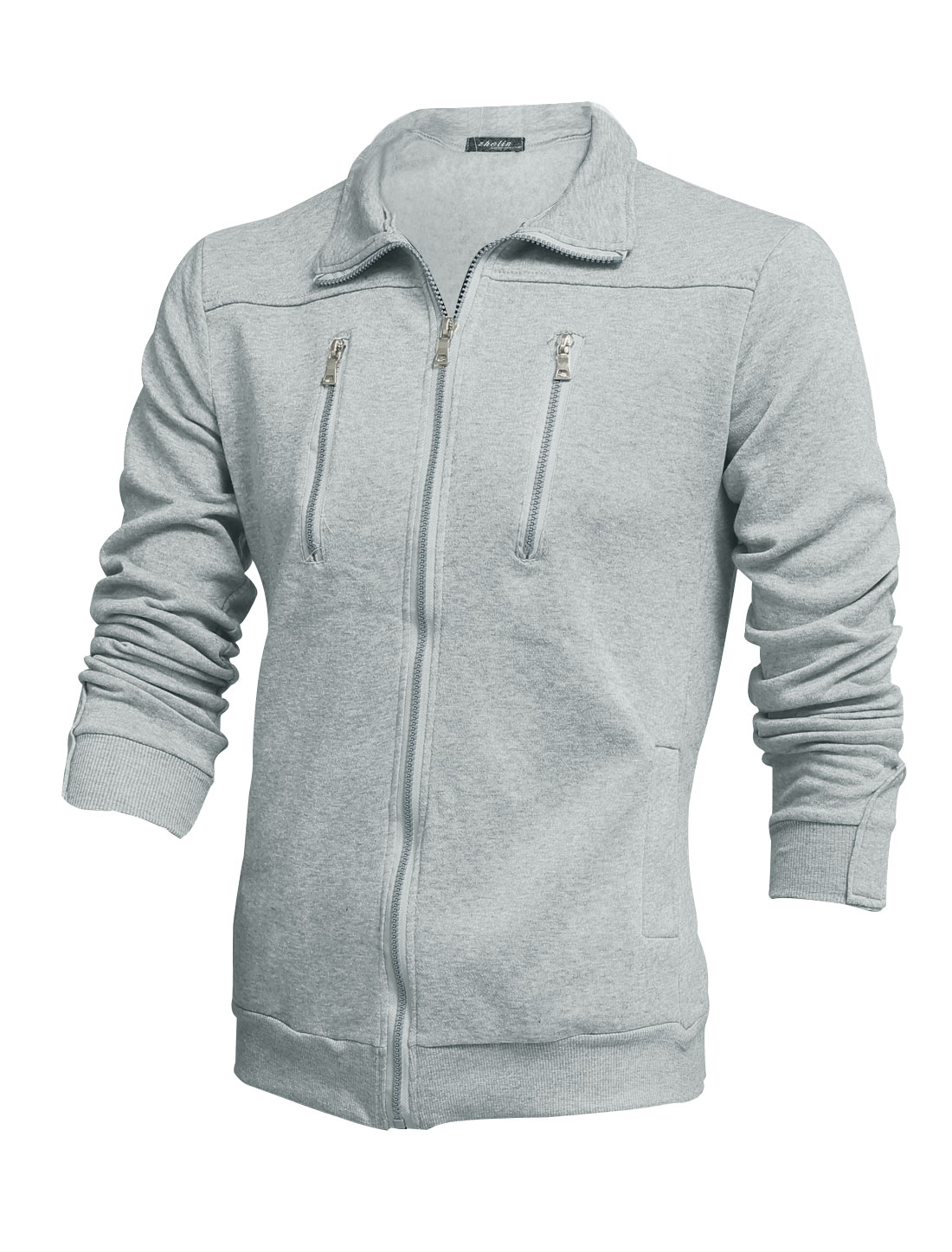 Men Turndown Collar Zipper Decor Long Sleeves Leisure Jacket Light Gray M