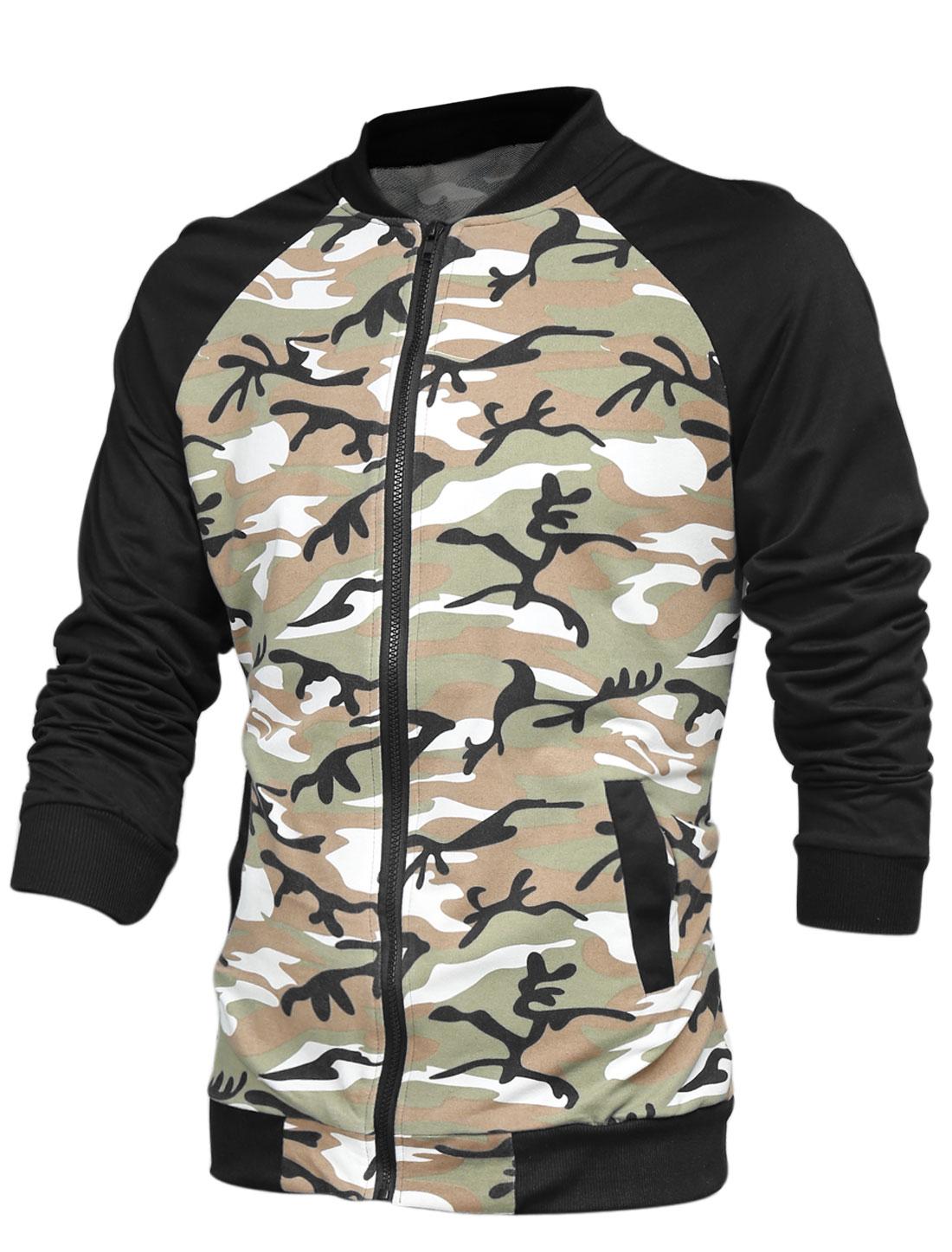 Men Rib Knit Collar Long Raglan Sleeves Camo Print Casual Jacket Brown Army Green M