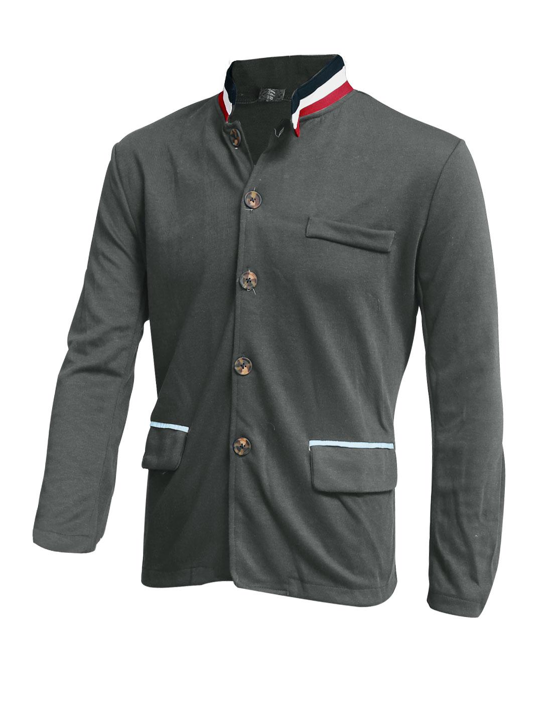 Men Stand Collar Flap Pockets Front Leisure Light Jacket Dark Gray M