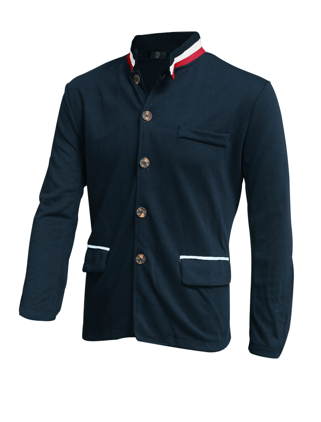 Men Stand Collar Chest Pocket Decor Leisure Light Jacket Navy Blue M