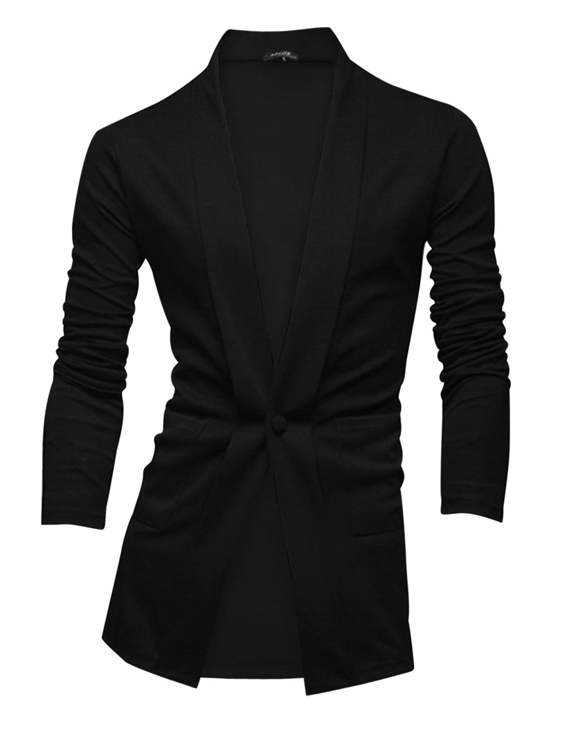 Men Shawl Lapel Two Patch Pockets Front Fashion Casual Blazer Black M