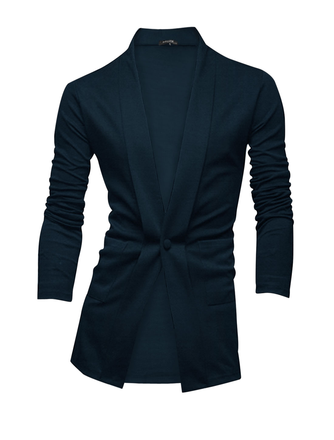 Men Long Sleeves Two Patch Pockets Front Fashion Casual Blazer Navy Blue M