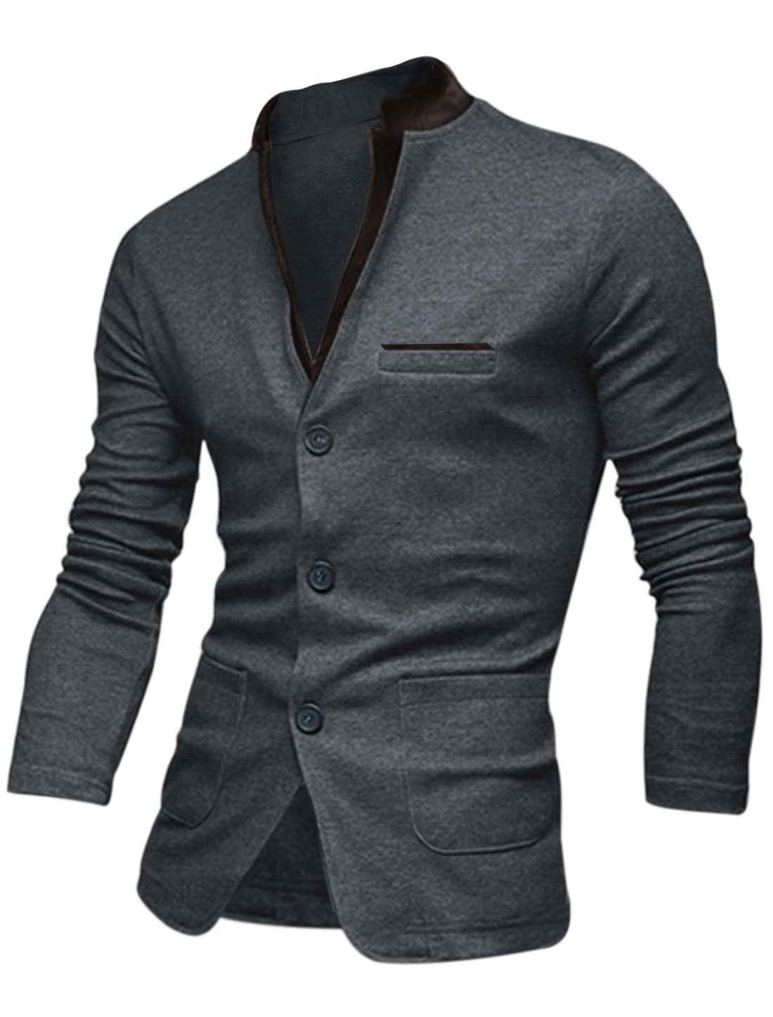 Men Notched Lapel Single Breasted Two Welt Pockets Front Casual Jacket Drak Gray M