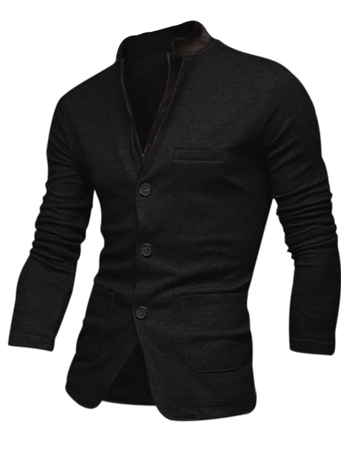 Men Notched Lapel Design Fake Pockets Cozy Fit Jacket Black Black M