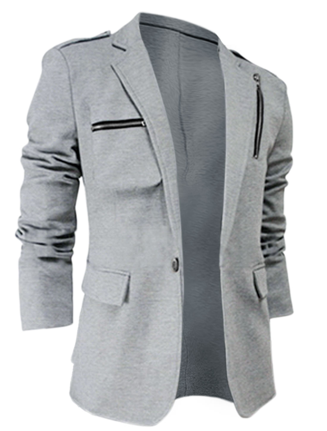 Men Single Button Closure Multi Pockets Split Back Blazer Jacket Light Gray M