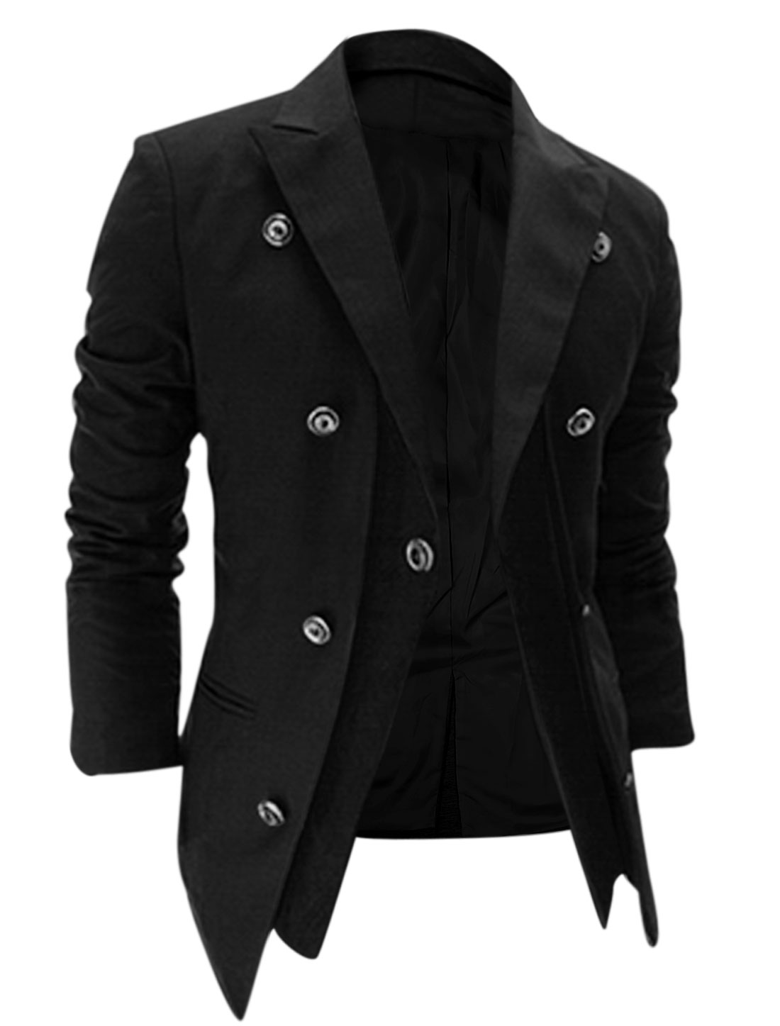 Men One Button Closure Split Back Layered Designs Blazer Jacket Black M