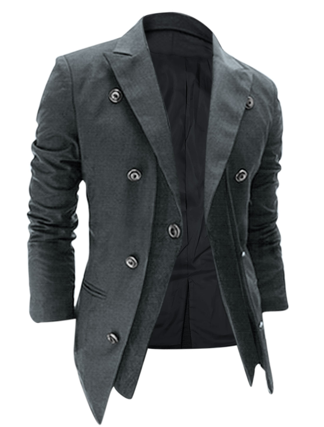 Men Peaked Lapel Padded Shoulder One Button Closure Blazer Jacket Gray M