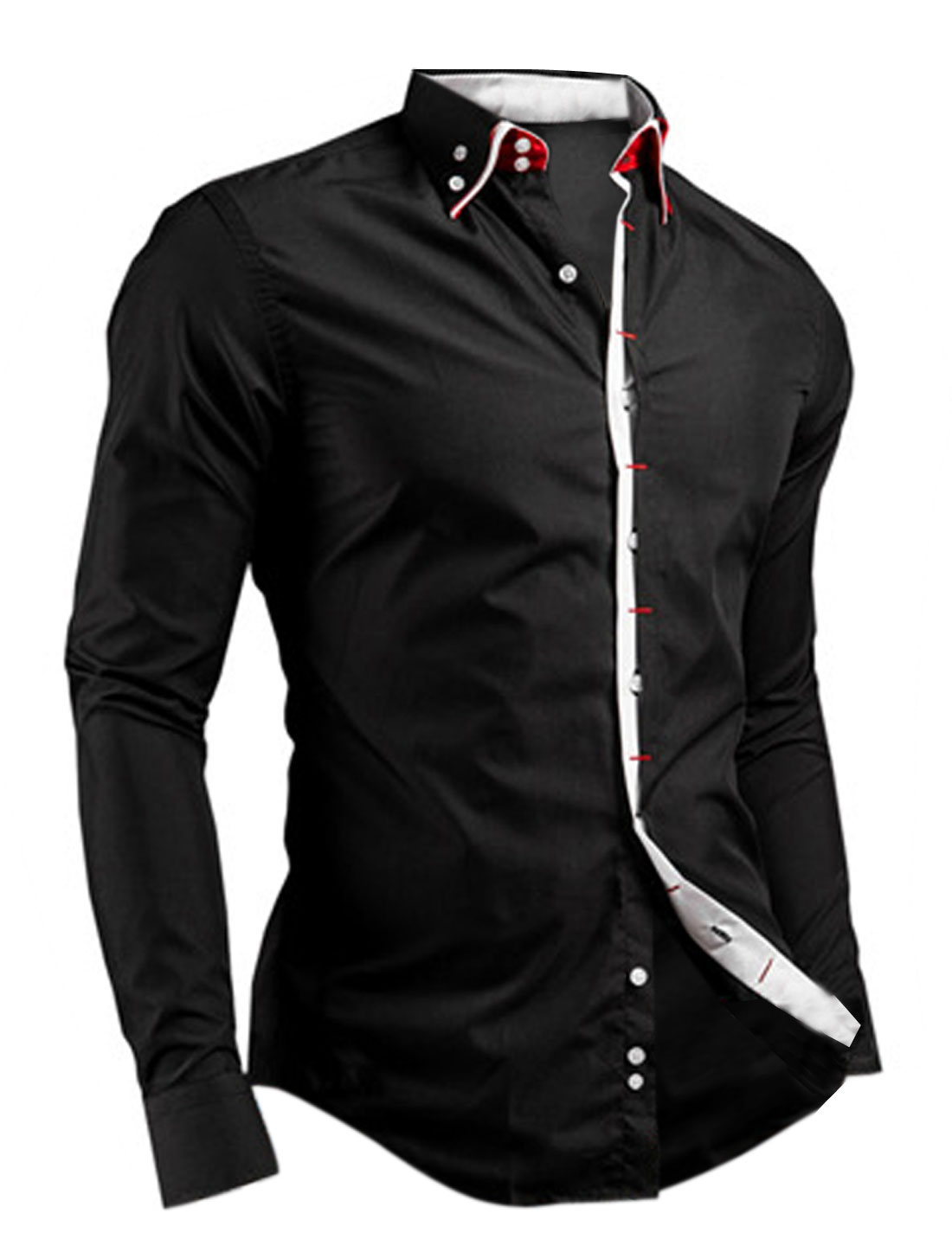 Men Point Collar Contrast Color Placket Casual Button Down Shirt Black M