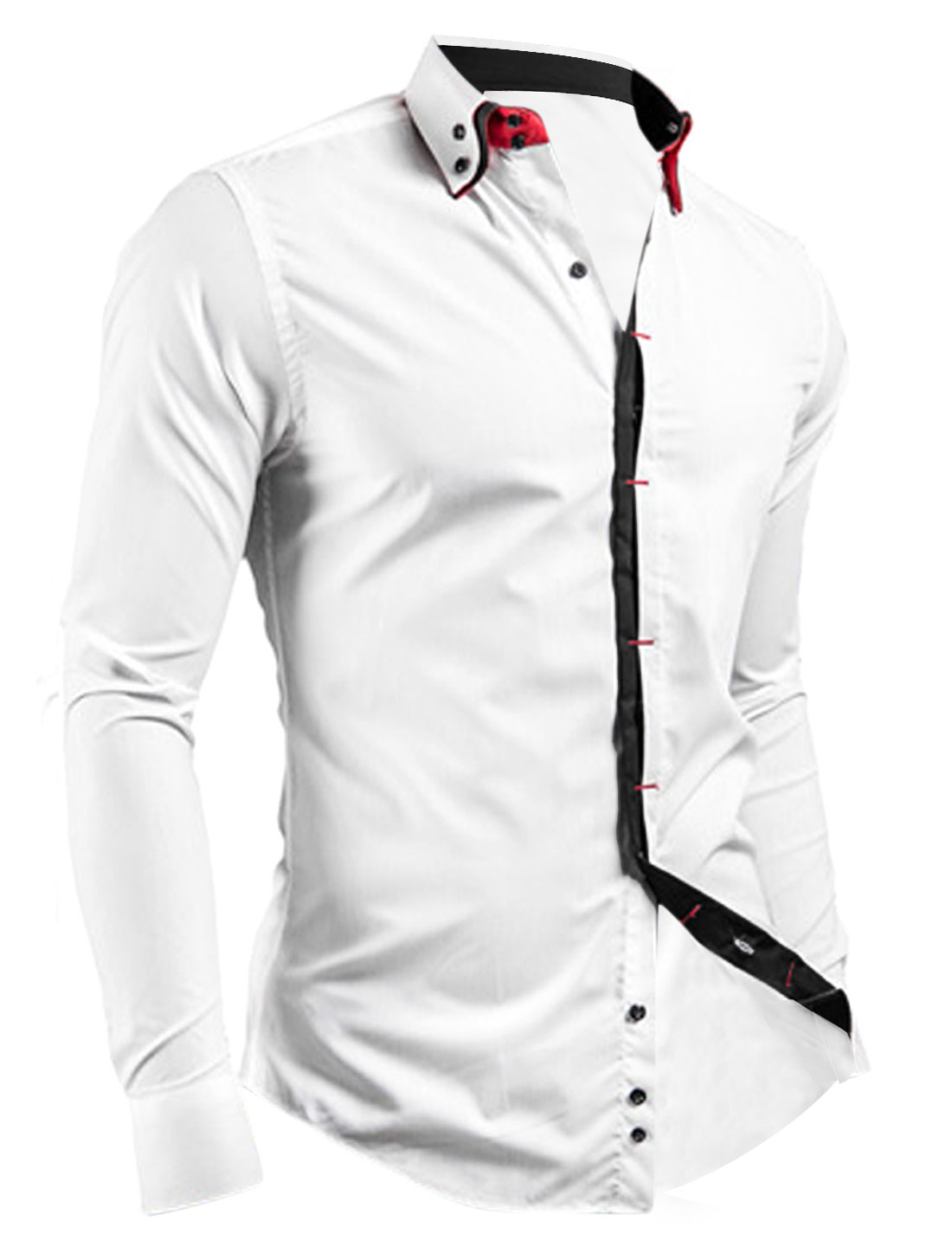 Men Point Collar Hidden Placket Casual Button Down Shirt White M