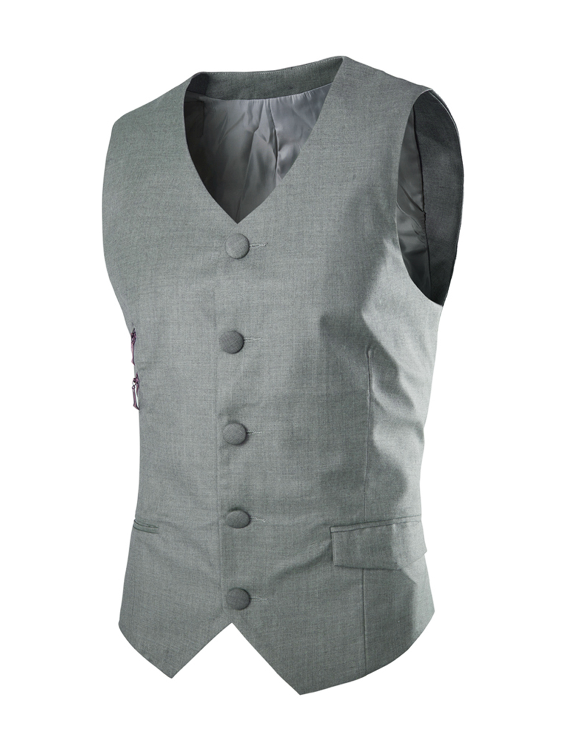 Men Single Breasted Two Welt Pockets Front Casual Vest Light Gray M