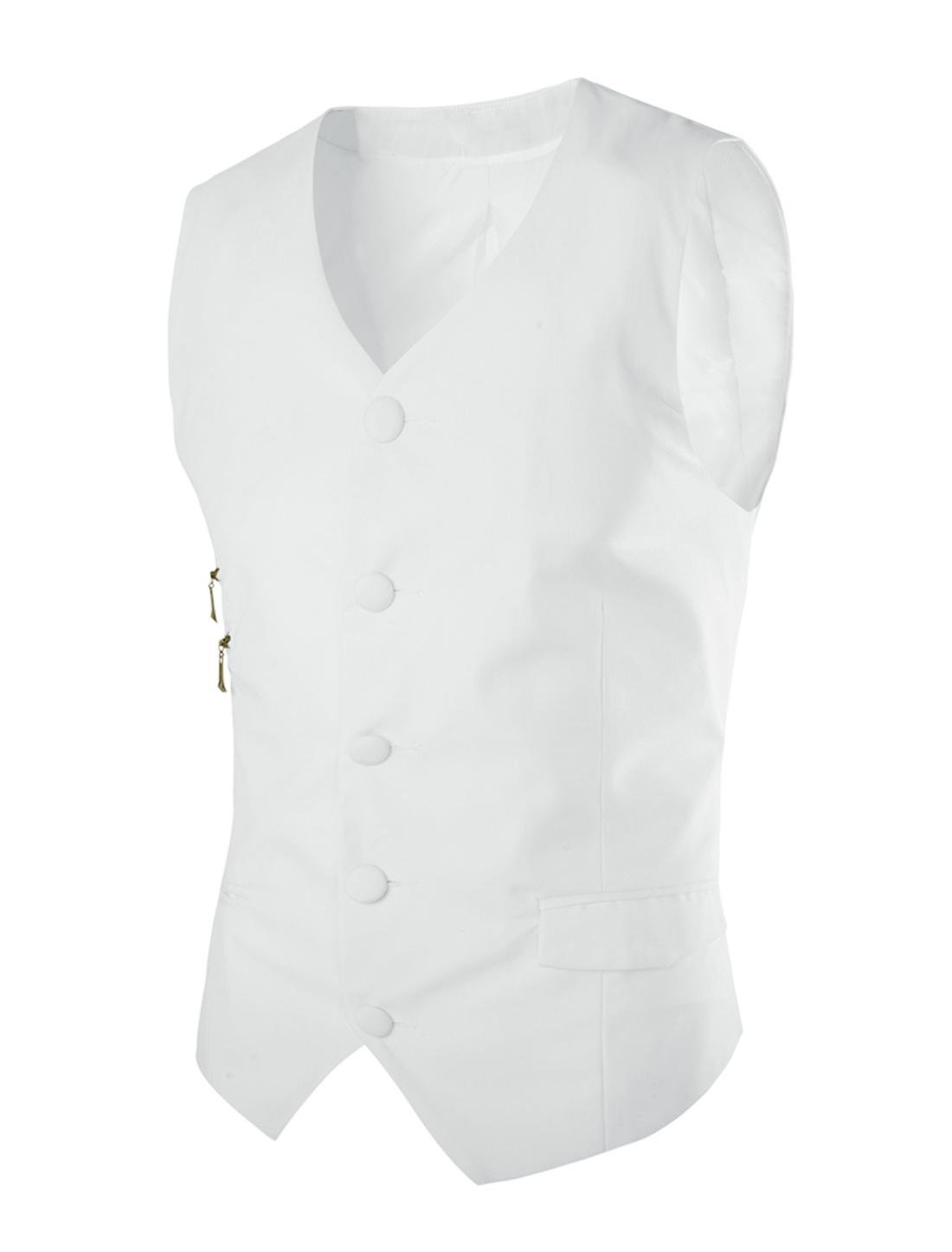 Men V Neck Single Breasted Cozy Fit Vest White M