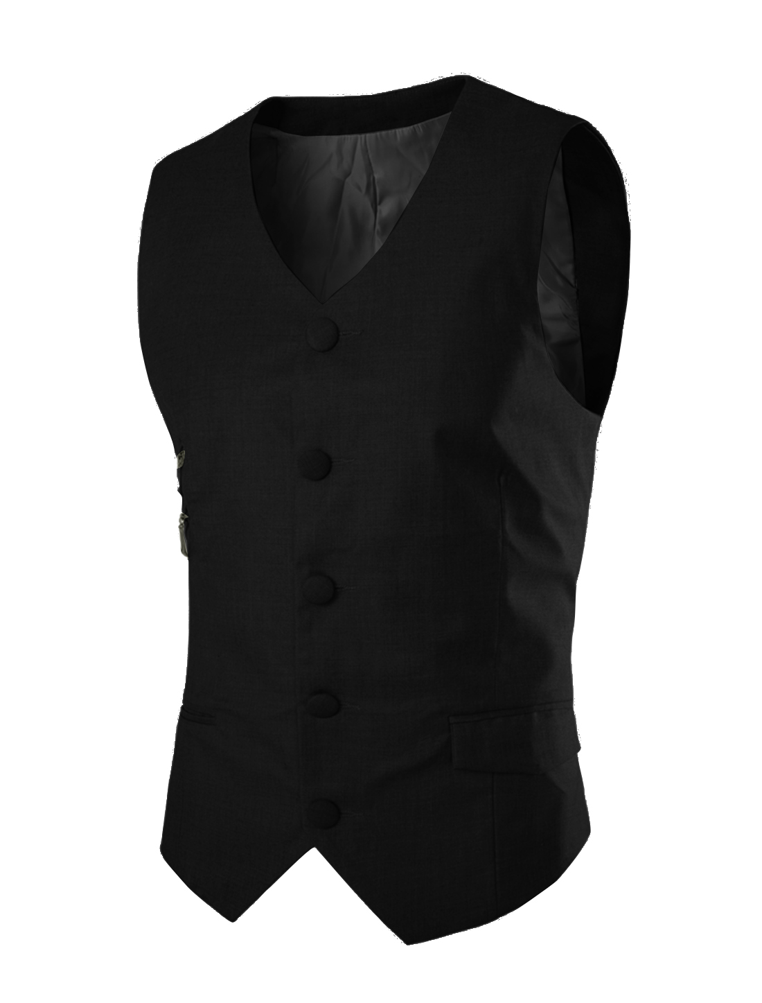 Men V Neck Two Fake Zip Up Pocket Fashion Vest Black M