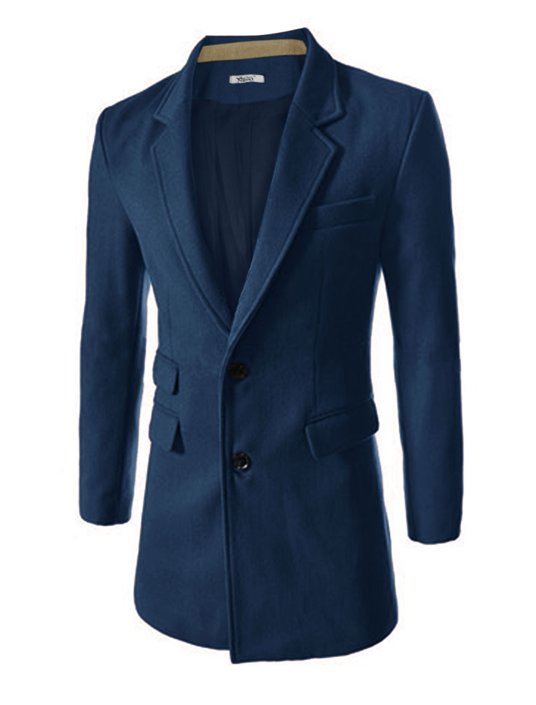Men Notched Lapel Single Breasted Split Back Design Worsted Trench Coat Navy Blue M