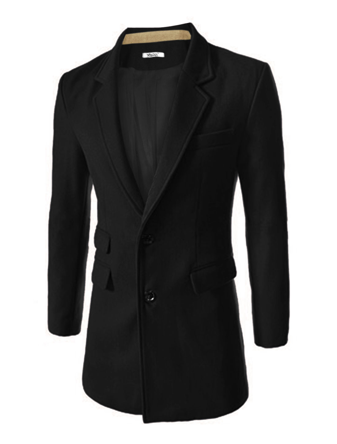 Men Notched Lapel Long Sleeve Fake Pockets Casual Worsted Trench Coat Black M