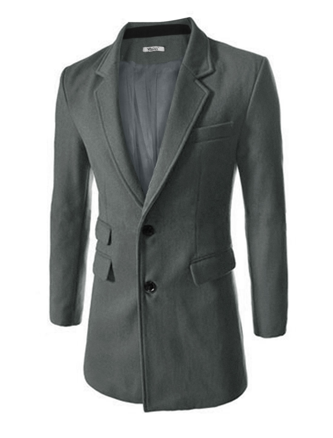 Men Notched Lapel Two Welt Pockets Front Cozy fit Worsted Trench Coat Dark Gray M