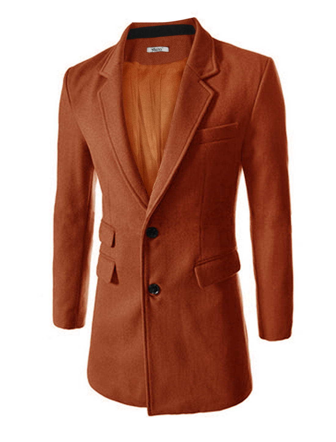 New Style Notched Lapel Split Back Design Worsted Trench Coat for Men Brick M