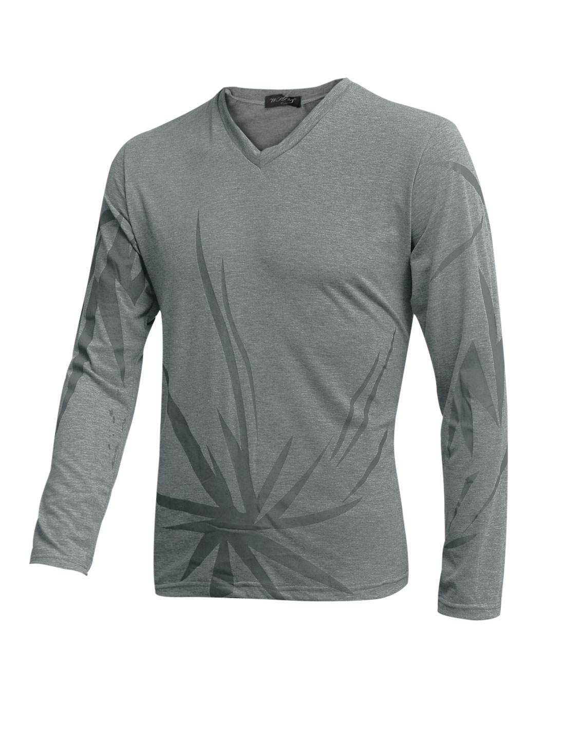 Men V Neck Long Sleeves Novelty Print Cozy Fit T-Shirt Dark Gray M