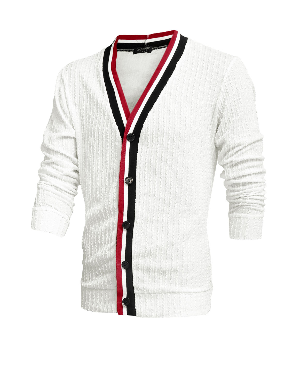 Men V Neck Long Sleeves Knitted Striped Detail Textured Cardigan White M