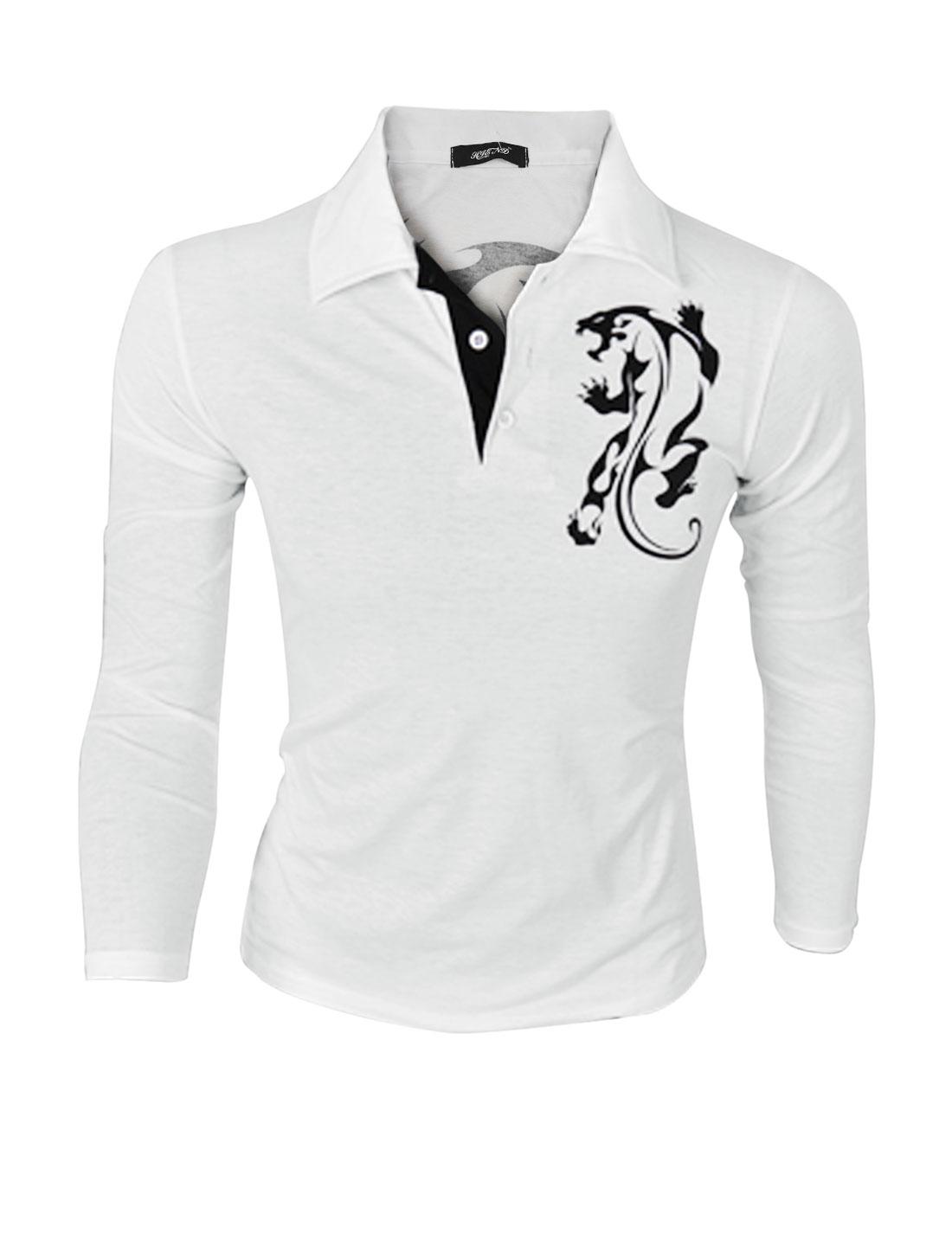 Men Point Collar Long Sleeves Cheetah Print Casual Polo Shirt White M
