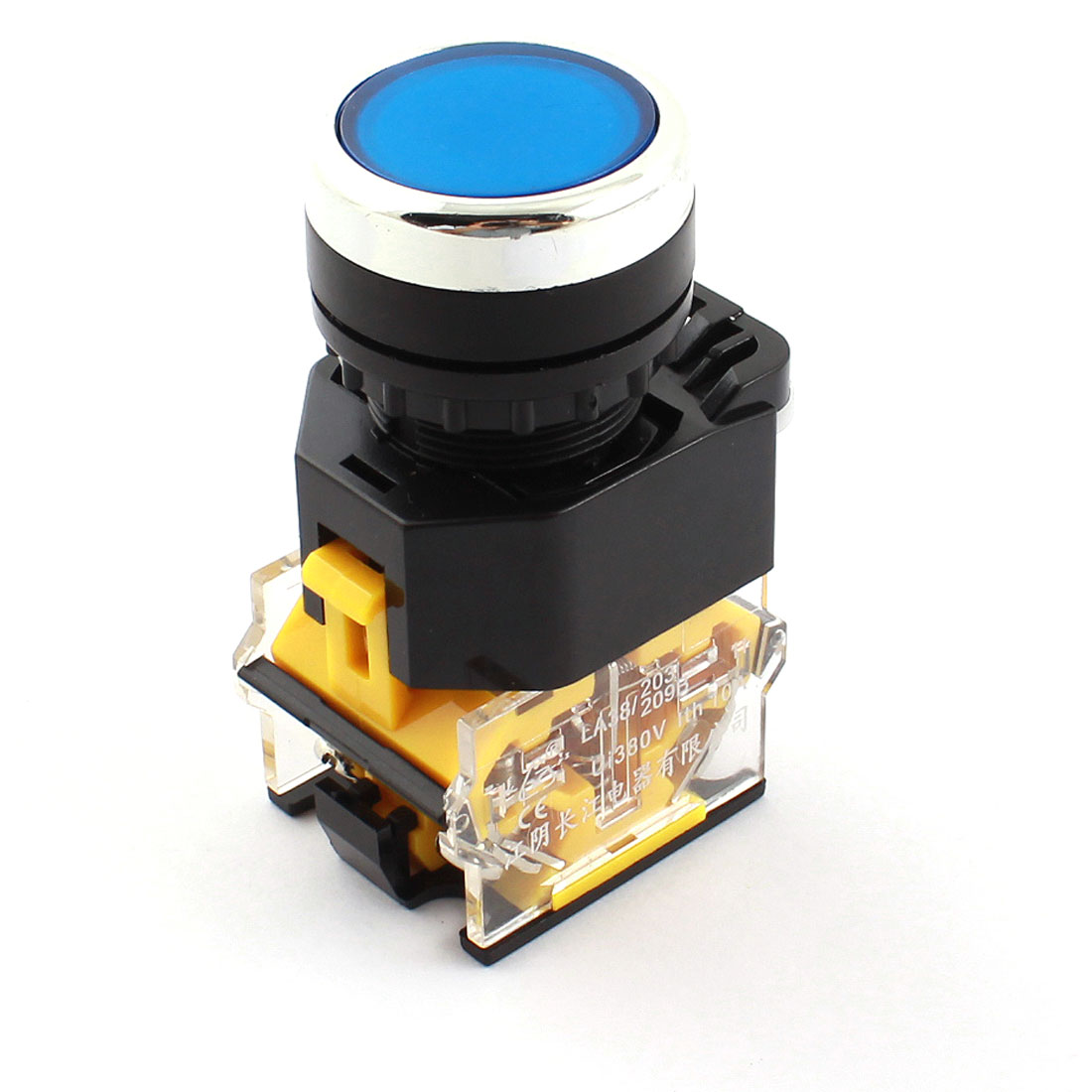 AC 380V 10A 22mm Dia Thread Panel Mount DPST 1NO 1NC 4 Screw Terminal Momentary Blue Push Button Switch
