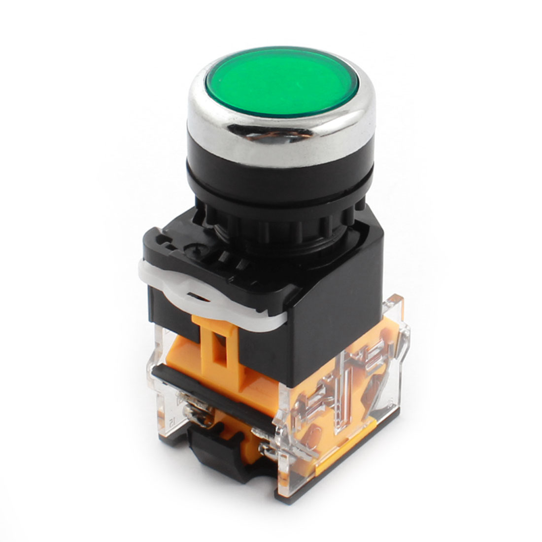 AC660V 10A 24mm Dia Thread Panel Mount DPST 1NO 1NC 4 Screw Terminal Momentary Green Push Button Switch