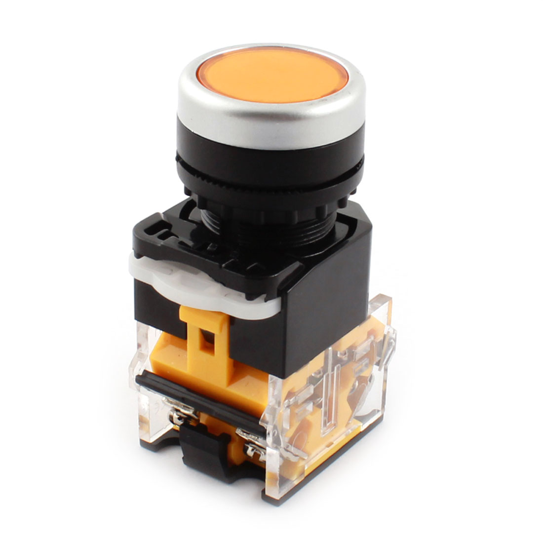 AC400V 10A 22mm Dia Thread Panel Mount DPST 1NO 1NC 4 Screw Terminal Momentary Yellow Push Button Switch