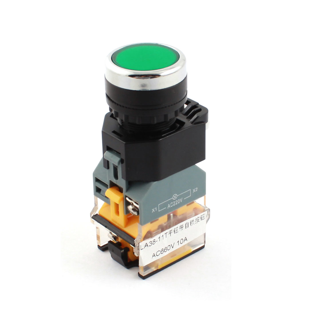 AC 660V 10A 22mm Thread Panel Mount DPST 1NO 1NC 6 Screw Terminals Self-locking Green Lamp Push Button Switch