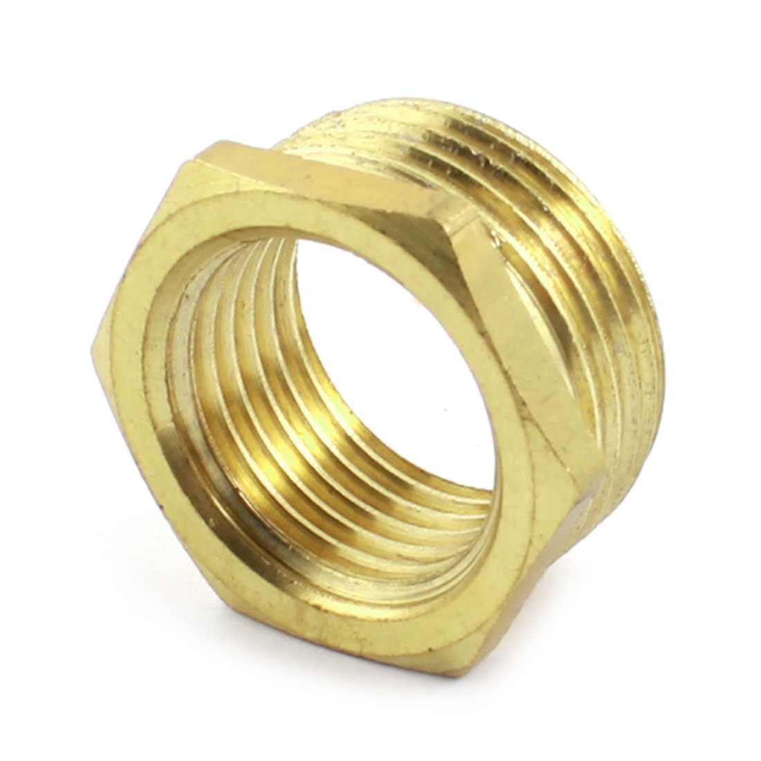 3/4PT x 1/2PT M/F Threaded Hex Head Gold Tone Brass Bushing Piping Fitting Connector Adapter