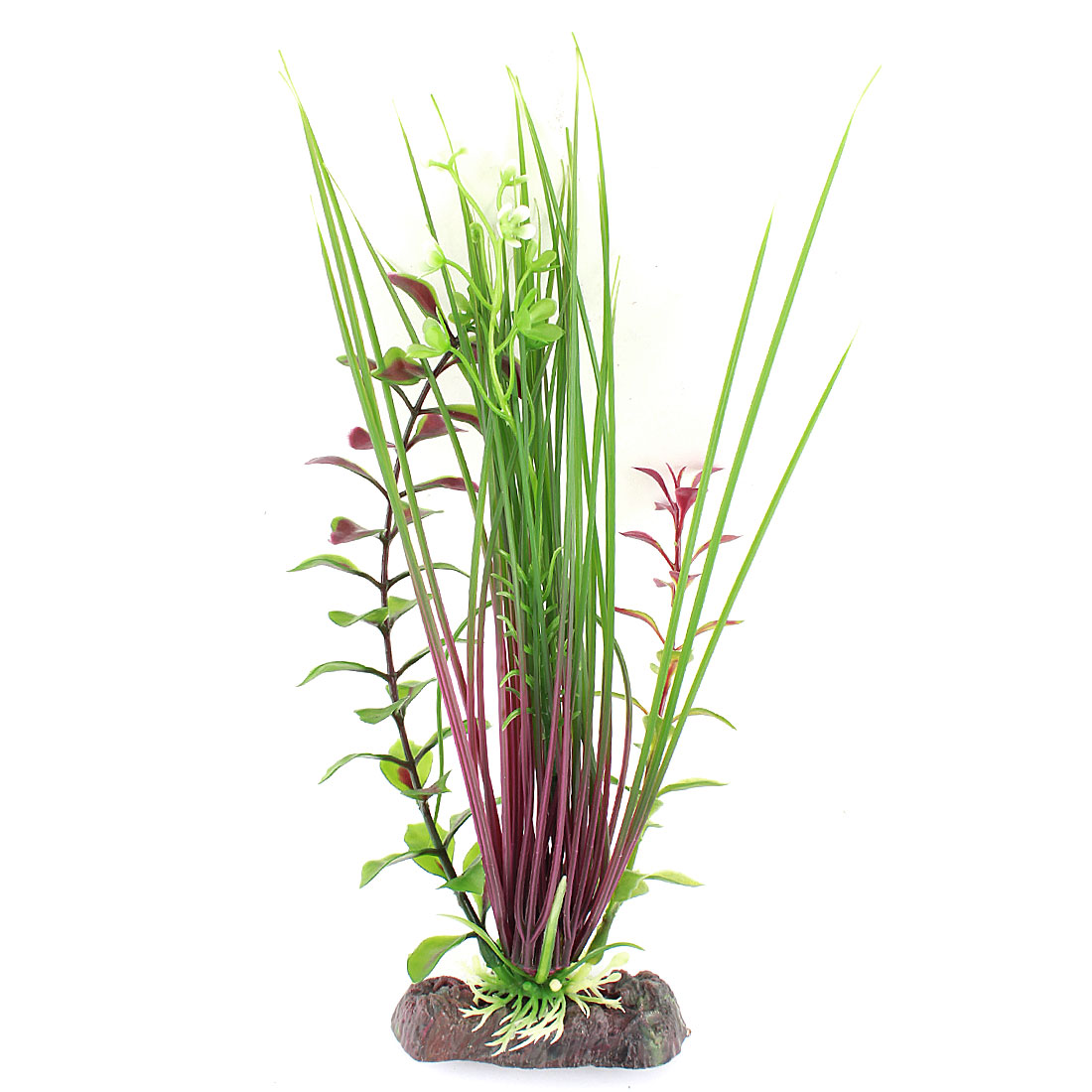 "Aquarium Fish Tank Ornament 9.8"" High Green Burgundy Plastic Artificial Underwater Grass Flower Plant"
