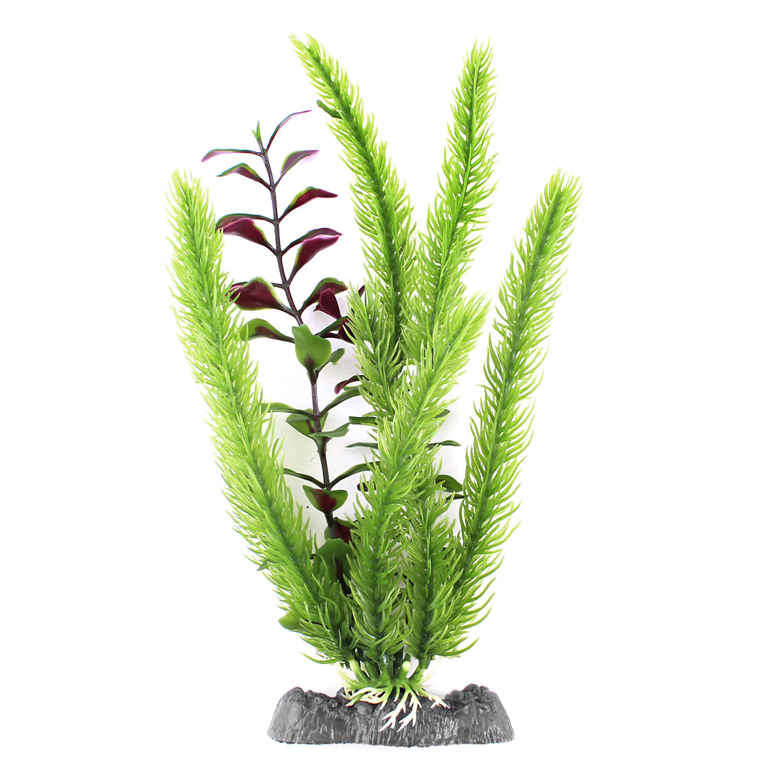 "Aquarium Fish Tank Decor 9.8"" High Green Plastic Artificial Pine Burgundy Water Grass"
