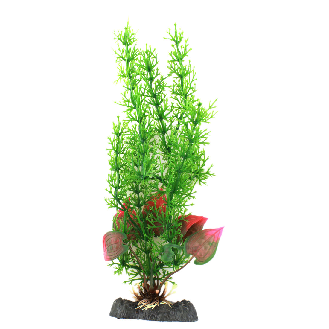 26cm High Green Plastic Artificial Fushsia Leaf Water Plant Decoration for Aquarium Fish Tank