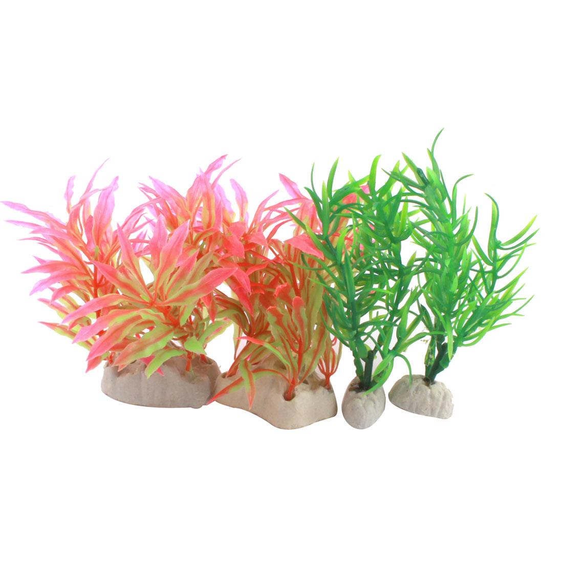 Aquarium Decoration Green Fushsia Plastic Artificial Underwater Grass Plant 4 Pcs
