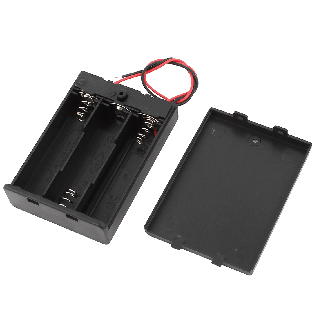 Black Wired 3x1.5V AA Battery Storage Case Box On/Off Switch w Cap