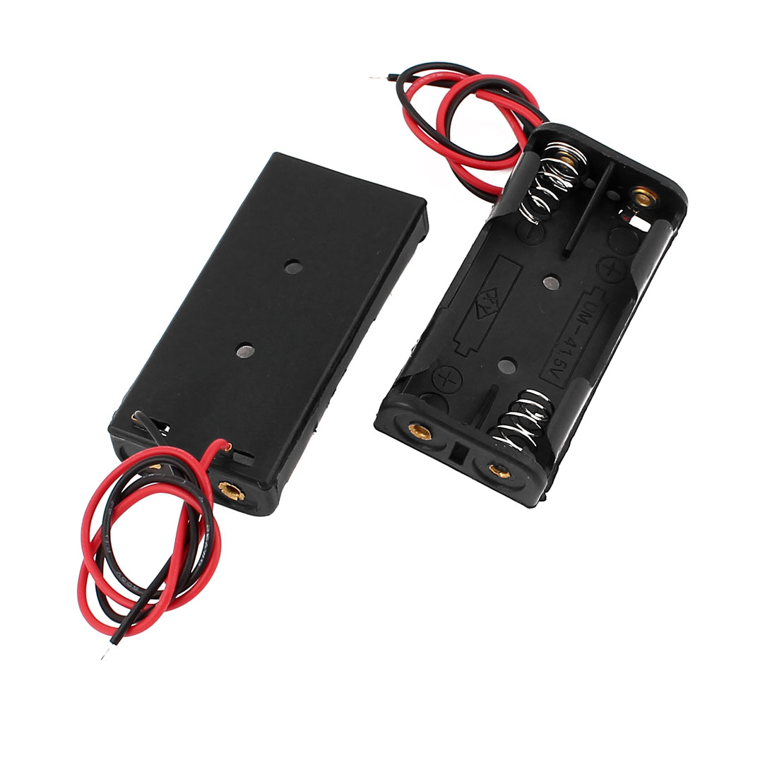 2Pcs Spring Loaded Black Plastic 2 x 1.5V AAA Battery Case Holder