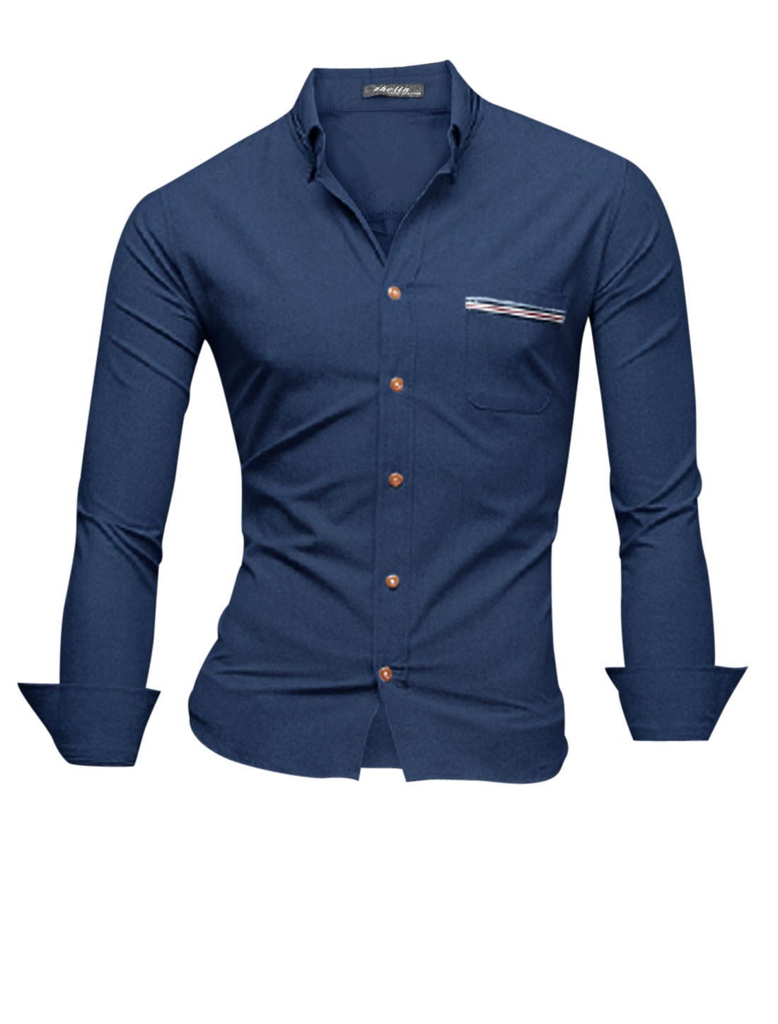 Man Stripes Detail Panel Design Long Sleeves Casual Shirt Navy Blue M