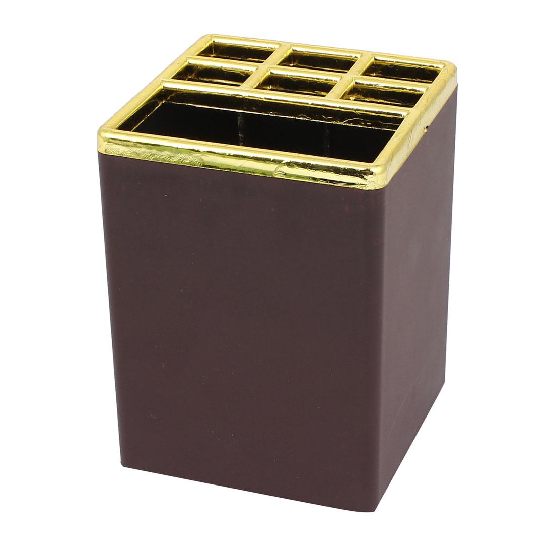 Aluminium Alloy Square Pen Pencil Stationery Stand Holder Organizer Box Dark Brown