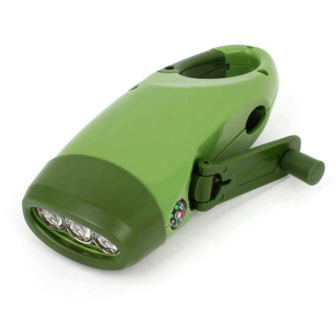 Outdoor Camping Green Plastic Housing White Light Hand Crank Compass LED Torch Flashlight Solar Dynamo Phone Charger
